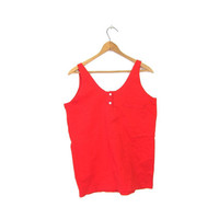 Basic Red Tank Top Cotton Scoop Neck Henley Tank Slouchy With Chest Pocket 90s Tshirt Plain Muscle Tee Hipster Vintage Womens Medium