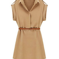 Khaki Lapel Collar Short Sleeve Dress