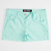 Scissor Fray Edge Girls Denim Shorts Mint  In Sizes