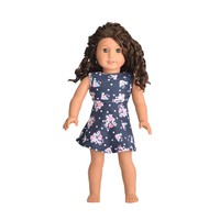 Doll Clothes Fits American Girl & Other 18 Inch Dolls Blue Flowers Dress Outfit