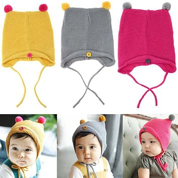 Autumn Winter Warm Baby Hat Infant Toddler Kids Knitted Beanie Caps born Girl Boy Photo Props Lovely Baby Skullies