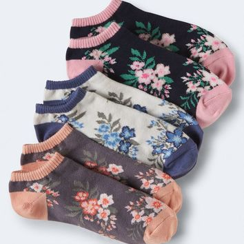 3-PACK FLORAL ANKLE SOCKS