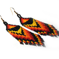Native American Earrings Inspired. Colorful Beaded Geometric Dangle Long Earrings