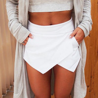 new arrival Women Asymmetric Tiered Culottes Shorts With Invisible Zipper Shorts