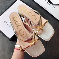 GG women's sexy solid color hollow thick heel slippers shoes