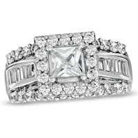 2-5/8 CT. T.W. Princess-Cut Diamond Frame Engagement Ring in 14K White Gold - View All Rings - Zales