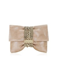 Sand Shimmer Luxury Suede Clutch Bag | Chandra | JIMMY CHOO Evening bags and clutches