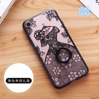 New for iphone 7Case Fashion Sexy Lace Floral Paisley Carved Flower Mandala for iphone 7 Plus Cover Ring Hold Stand -0329