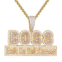 Hip Hop Boss Built on Self Success Baguette Layer Pendant