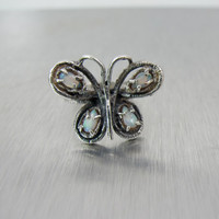 Sterling Opal Butterfly Ring, Opal Butterfly Ring, Signed Sterling RBH Size 6, Vintage Opal Butterfly Figural Jewelry