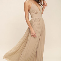 Beautiful Women's Beige/Champagne V-Neck Spaghetti Strap Pleated Maxi Dress Perfect for Bridesmaids or Weddings