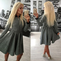 Womens Autumn and Winter Long Sleeve Front Zip Casual Elegant Party Cocktail Skater Mini Dress