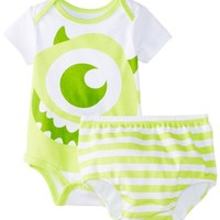 Disney Baby-Boys Newborn Monsters Diaper Cover Set, White, 3-6 Months