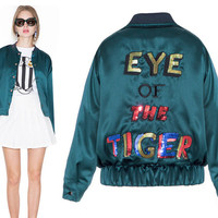Elastic Hem Crop Jacket with Eye Of the Tiger Sequined Back