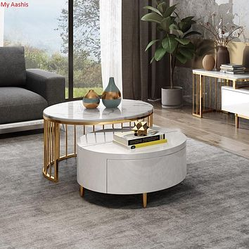 Contemporary Wooden Round Rotating Marble Coffee Table with Storage