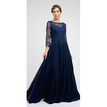 Appliqued Long Formal Dress Navy Blue with Quarter Sleeves