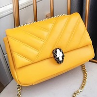 Bvlgari Fashion New Chain Leather Shoulder Bag Crossbody Bag Yellow