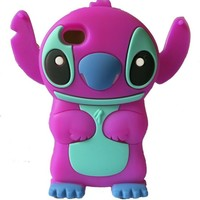 W-RainBow Cute Disney 3d Stitch Pattern With Movable Ear Silicone Soft Case for Apple Iphone 4/4G/4s Purple