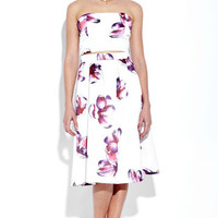 White Wrapped Chest Floral Print Cut Out Dress