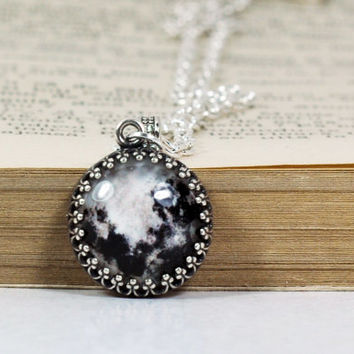 Crown Pendant, Antique Silver Full Moon Chain Necklace, Glass Dome Resin Pendant