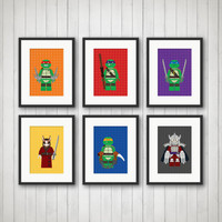 Ninja Turtle Decor  - Comic Book, Boy's Room Decor, Playroom, TMNT, 5x7 or 8x10 Prints, Lego Ninja Turlte