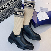 Christian Dior CD embroidered letters women's mid boots Shoes