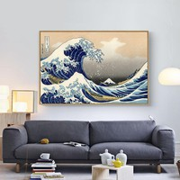 The Great Wave off Kanagawa, Canvas Print Painting Poster Wall Art Picture For Room Home Decoration, Unframed LZ328