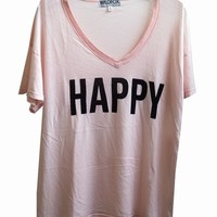 HAPPY - OVERSIZE V NECK at Wildfox Couture in - CLEAN BLACK, - NUDE