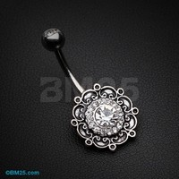 Vintage Filigree Flower Multi-Gem Belly Button Ring