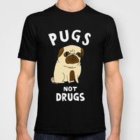 Pugs Not Drugs T-shirt by Gemma Correll