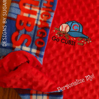 BABY BLANKeT CHiCAGO CUBS FLeece & MiNKY PERSONALiZED So SoFT SnuGGLY Baby Nursery SHoWER GiFT for you Little Baseball FAN