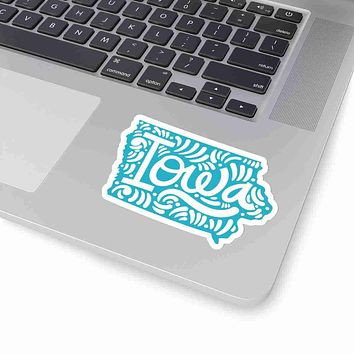 Iowa State Shape Sticker Decal - Teal