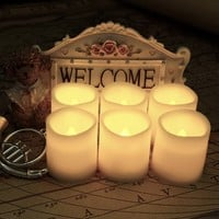 """Battery Operated Candles By Festival Delights® - 6 Unscented Small Flameless Candles, Dia. 1.5""""x1.75"""" Height, 70+ Hours of Lighting, Total 12 Battery cells included, LED Candles, Flameless Candle Set, Votive Candles, Centerpieces, Wedding Decor(Non-Timer)"""
