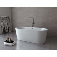 LaToscana Oval Perlato Milano Freestanding Soaking Bathtub, White Gloss Acrylic