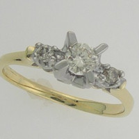 1/3rd ct Two Tone Three Stone Genuine Diamond Engagement Ring 14kt Sizes 3-10