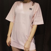 Adidas Three Stripe Pink Boyfriend T-shirt