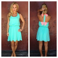 Mint Sleeveless Dress with Pink Double Bow Back
