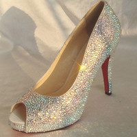 Shinning crystal shoes for Wedding or party AB crystal Rainbow color, other colors available too
