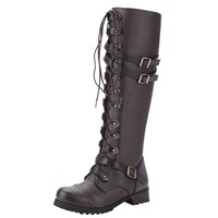 Sexy High Heels Women Shoes Lace Up Winter Boots Women Steampunk Gothic Vintage Leather Retro Punk Buckle Military Combat Boots