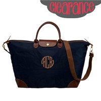 CLEARANCE Monogrammed Navy Longchamp Inspired Carry On Luggage