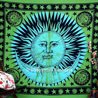 India Sun Hippie Hippy Indian Tapestry Throw Cotton Bedcover Bohemian Decor BedSpread Ethnic Decorative Art mandala indian wall hanging