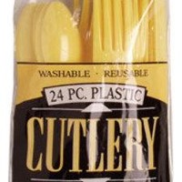 yellow plastic cutlery - Case of 24