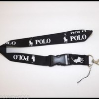 Polo RL Keychain Holder Lanyard Sports Black w/ White Pony Logo: FREE SHIPPING