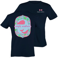 Simply Southern Preppy Whale Seaweed Navy T-Shirt