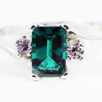 Emerald and CZ Accent Ring Sterling Silver, May Birthstone Ring, Lab Emerald Ring, 925 Emerald Ring, Emerald Cut Ring