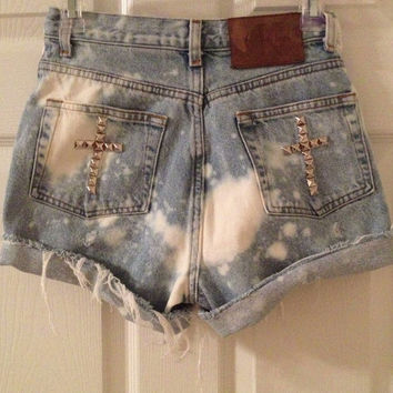 Custom High Waisted Waist Shorts Vintage Denim Ombre Tye Dye Stud Studded Ripped Bleached American Flag Floral Fringe Cross Ripped