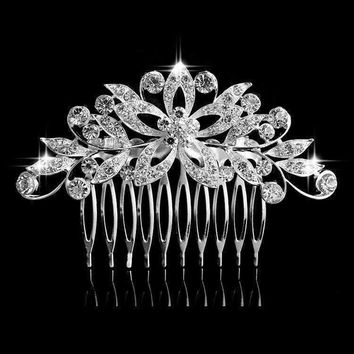 Fantasy Flowers Crystal and Silver Plated Hair Comb