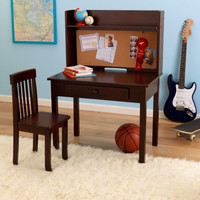 Espresso Pin Board Desk & Chair