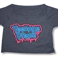 Katy Perry Teenage Dream Grey Crop Top T-Shirt New Juniors (Large)
