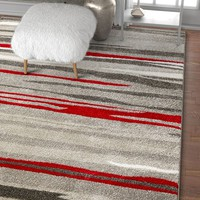 2963 Gray Red Abstract Contemporary Area Rugs